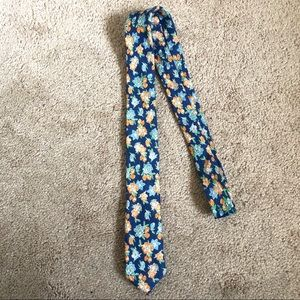 Men's Penguin Linen Floral Print Skinny Tie